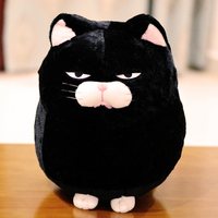 small cute plush black cat toy fat cat doll gift about 30cm