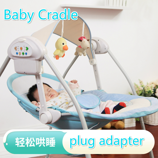 baby sleeping chair swing for 1 year old rocking electric cradle crib soothing basket bouncer with plug adapter