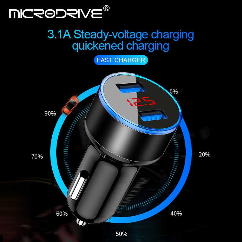 Cargador de coche USB Dual 3.1A 5 V con pantalla LED cargador de coche Universal para Xiaomi Samsung S8 iPhone X 8 Plus Tablet etc.