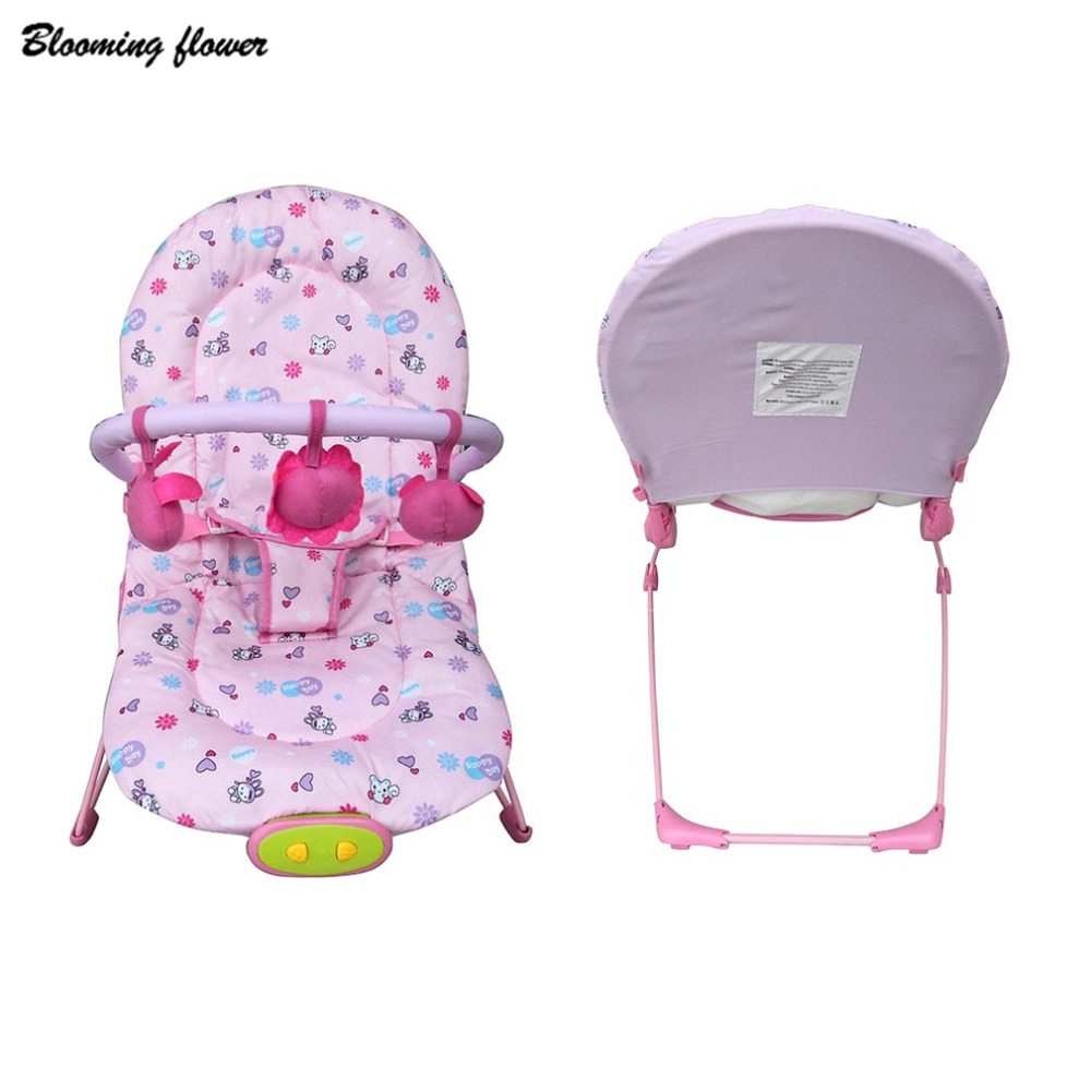Blooming Flower Baby Cradle Children Rocking Chair Multifunction Sleep Plaid Pattern Detachable Toys Kids Adjustable Swing Seat 2017 new babyruler portable baby cradle newborn light music rocking chair kid game swing