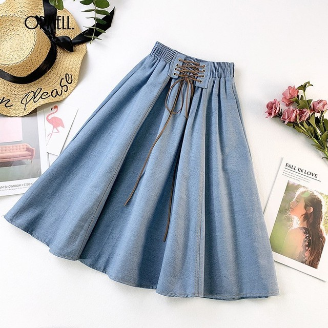 cb8ca8b11d ORMELL Denim Pleated Midi Skirt Women 2019 Summer High Waist Vintage Party  Skirts Casual Cotton Ladies A-line Lace Up Skirt