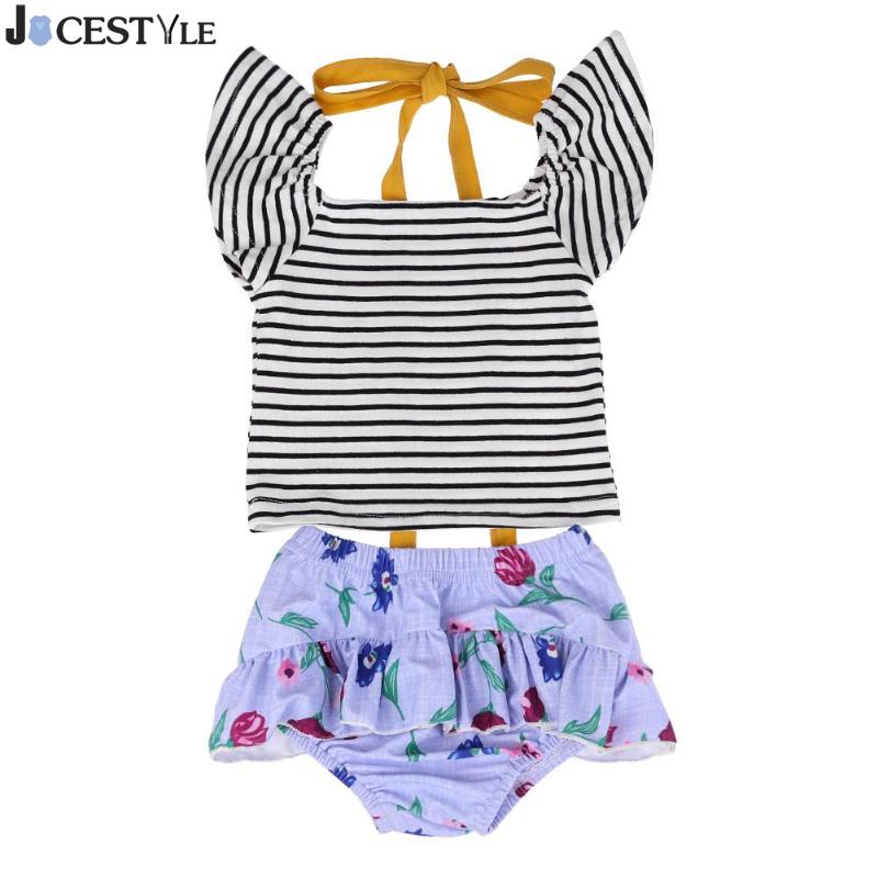 2 Pz Estate Neonate Vestiti Set Stripe Off Spalla Top Floral Ruffle Slip Pannello Esterno Della Spiaggia Costume Da Bagno Neonato Costume Da Bagno Con Il Miglior Servizio
