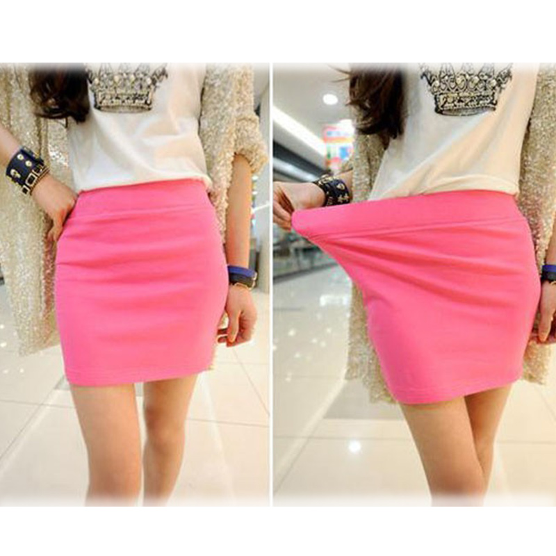 Fashion Women Ladies <font><b>Sexy</b></font> Summer Package <font><b>Hip</b></font> Pencil Skirt Seamless Elastic Pleated High Waist Slim Mini Skirts For Office Party image