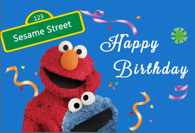 7x5FT Sesame Street Elmo Blue Wall Happy Birthday Ribbons