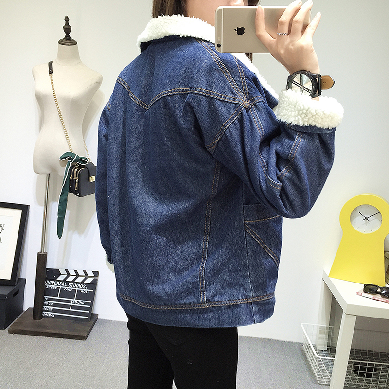 With Lining Pockets Coat Women Winter Fur Jacket Navy Warm Denim amp; Bomber New Female 2 Blue Jeans 2018 Full 6qT7g7