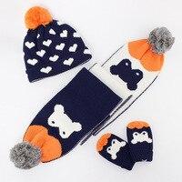 2017 Quality Kids Winter Hat Scarf Mitten Set 3 Pieces Toddler Baby Boys Girls Knit Hat