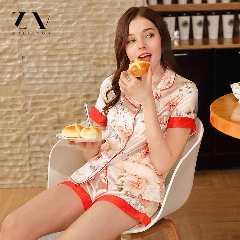 Bộ Đồ Ngủ lụa Cho Phụ Nữ Màu Hồng Hai Mảnh Mùa Hè Pyjamas Quần Short Lần Lượt Xuống Cổ Áo Negligee cô gái Nhà Quần Áo