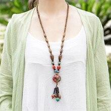 Mulheres camisola vintage colares 2016 nova tecelagem marrom cerâmica frisado high-end suave acessórios de moda jóias gargantilha BX015