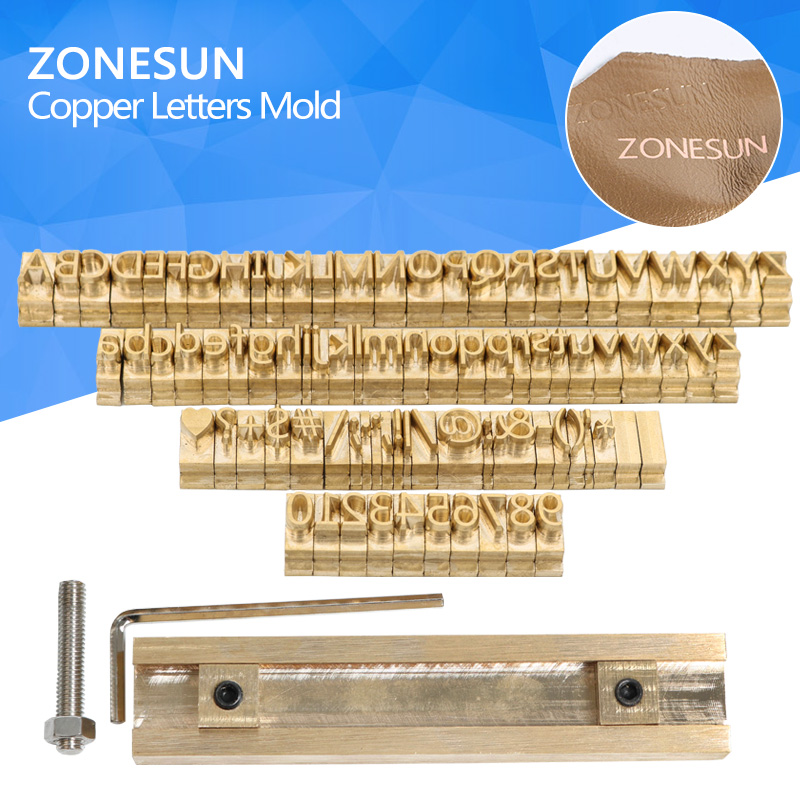 ZONESUN T-slot Brass Letters Die Cut Deboss Mold Hot Foil Stamp Copper Alphabet Press Set Customized Font DIY Character Mold elegant artificial gem oval rhinestone leaf floral brooch for women