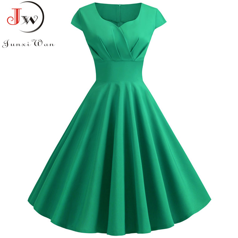 2019 New Summer Women Vintage Dress Short Sleeve V Neck Casual Elegant Retro Pin up Party Midi Dresses Vestidos Robe Plus Size