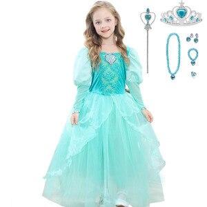 Image 4 - Girls Little Mermaid Princess Ariel Dress Up Dresses Kids Fancy Frock Role Playing Costume Birthday Party Wedding Flower Girl