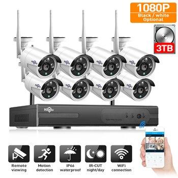 2MP CCTV System 1080P 8ch HD Wireless NVR kit 3TB HDD Outdoor IR Night IP Wifi Camera Security System video Surveillance Hiseeu 1