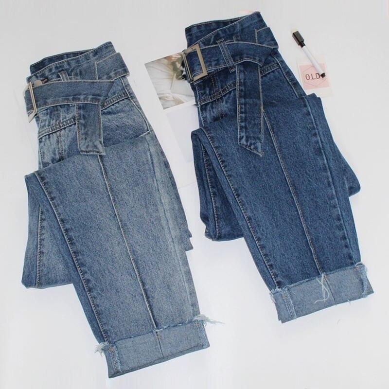 Fashion Retro High Waist Jeans Women Loose Long Harem Pants With Belt Boyfriend Jeans For Women Casual Denim Jeans Femme C5416