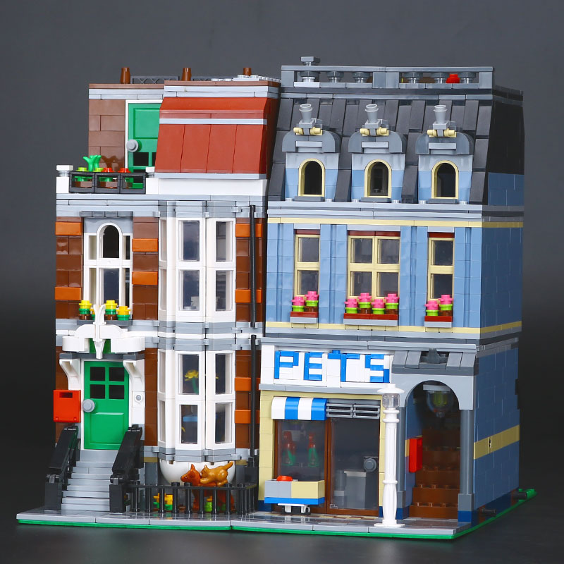 New LEPIN 15009 Pet Shop Supermarket Model City Street Building Blocks Compatible 10218 Toys For Children Educational Toy Gifts lepin 15009 city street pet shop model building kid blocks bricks assembling toys compatible 10218 educational toy funny gift