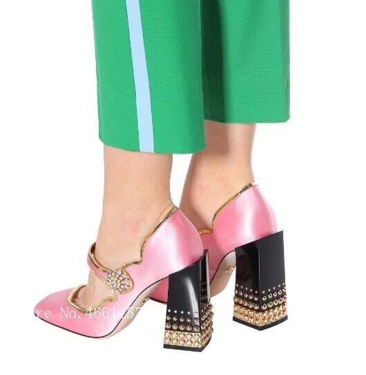 Pompes Lolita Satin Mary Rose 2019 Fleur Boucles Bijoux Chunky Talon Pic Jane Dames As Épais Femme Style Pic Chaussures as Femmes Strass 0dgwgqFn