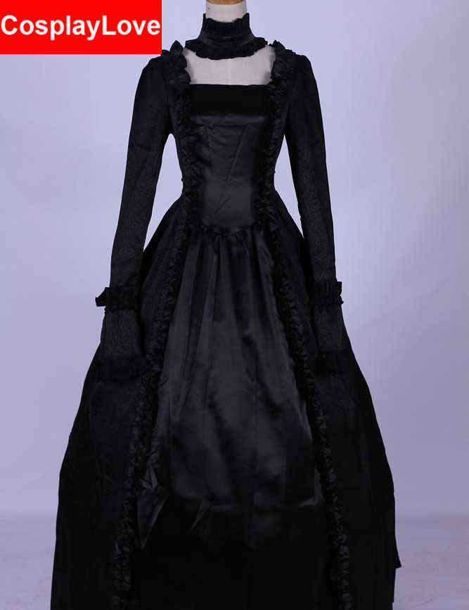 Black Long Lolita Dress Punk Gothic Cosplay Costume Custom-Made For Halloween Christmas Birthday CosplayLove