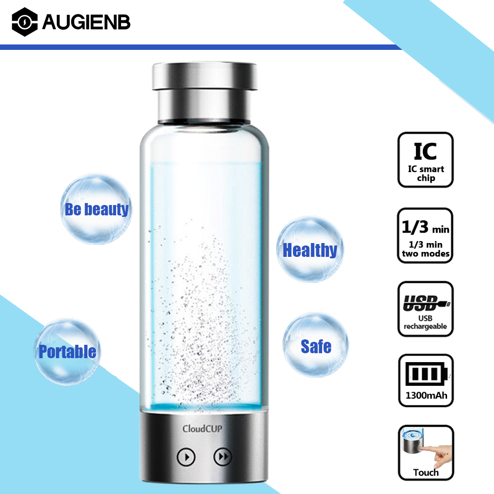 Augienb 480ml Titanium Electrolysis Oxygen Hydrogen-Rich Water Ionizer Maker Generator Cloud Cup Anti-Aging Water Bottle 380ml usb hydrogen water generator rechargeable portable water ionizer bottle electrolysis energy hydrogen rich antioxidant cup