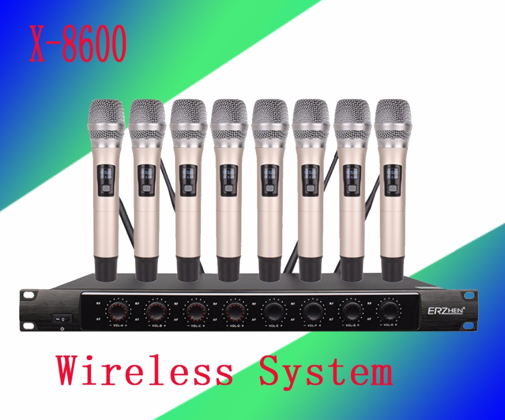 Wireless System X-8600 Pro Microphone 8 Channel VHF Professional 8 Handheld Microphone Stage Karaoke Wireless Microphone new type true diversity em2500 em3032 wireless microphone system for stage karaoke 2 performances