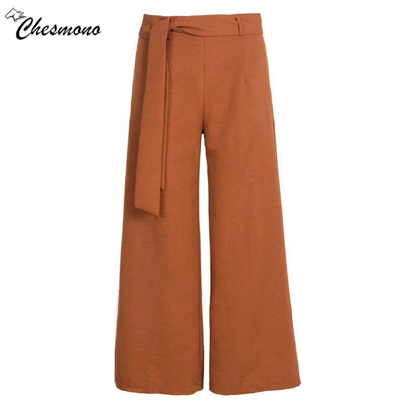 2018 High Waist Belted Zipper Palazzo Pants Ginger Frill Waist flat Wide Leg Pants Women Elegant OL Style Trousers
