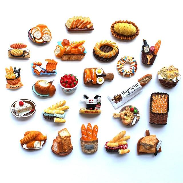 3D Fridge Magnet Bread Food Series Decoration Simulation Of