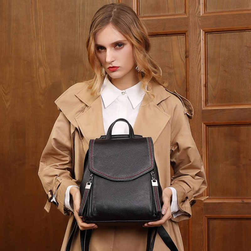 Aodux 100% prawdziwa skóra bydlęca moda kobiety codzienny plecak prawdziwa pierwsza warstwa skóry damskie plecaki podróży wołowej torebki kobiece