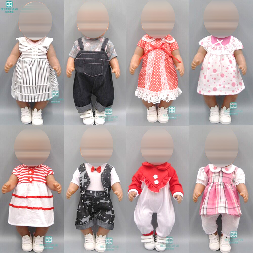 Clothes For Dolls Fits 43 Cm Toy New Born Doll Black And White Striped Baby Dress