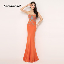 Real Pictures Sweetheart Sleeveless Sexy Mermaid Evening Dresses With Crystals In Stock vestido de festa longo AJ015OG