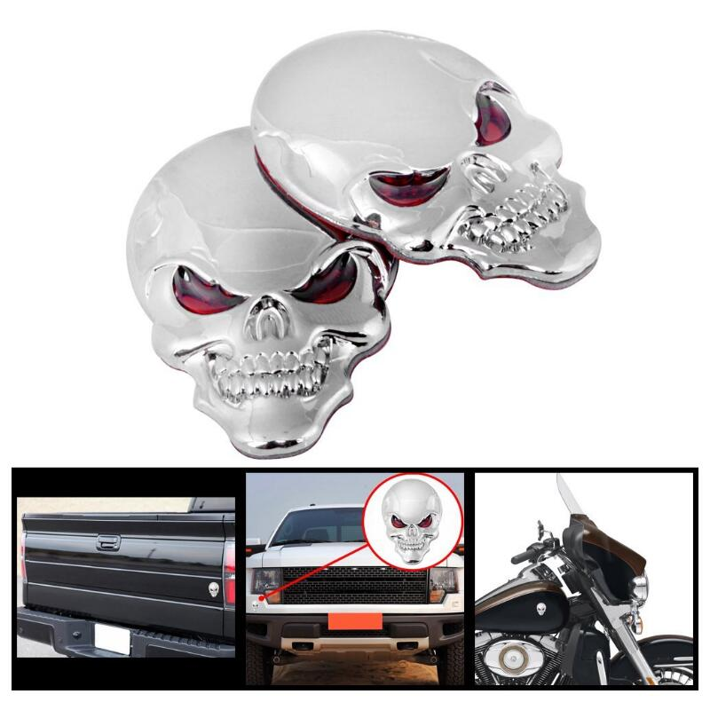 1 Pcs Metal 3D Skull Car stickers Logo Emblem Badge Truck Auto Motor Car Styling Sticker Decal 3 Colors