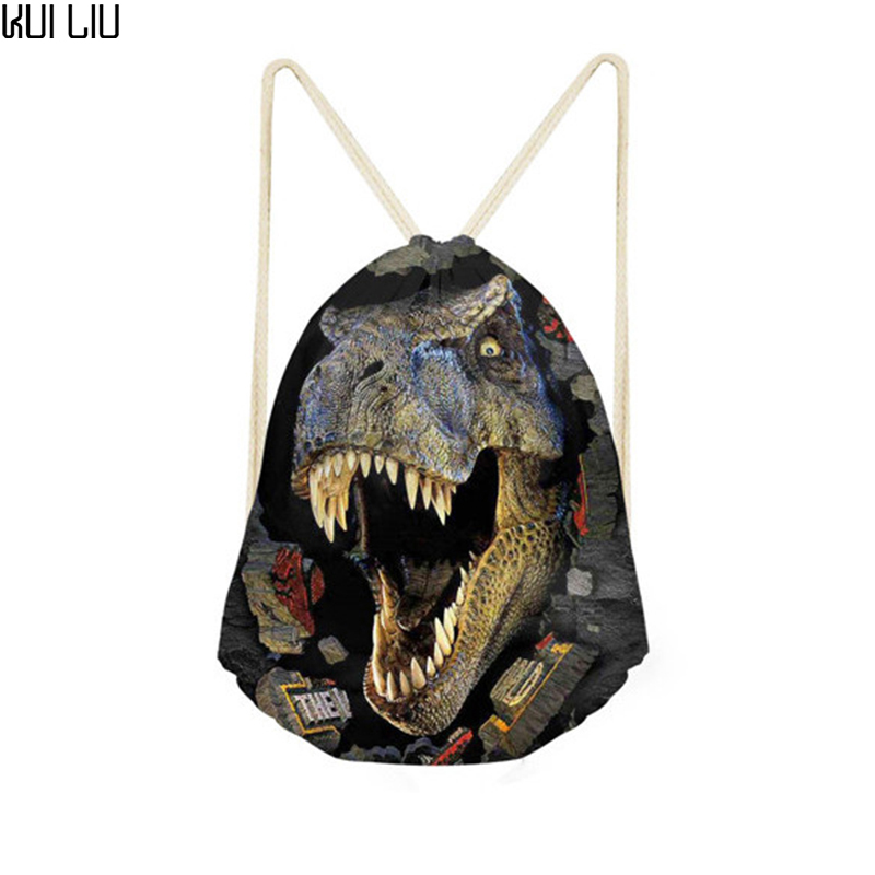 Customized Drawstring Bag Kids Dinosaur Bags 3D Animal Printing Men Backpack String Shoulder Bags For School Boys Casual Bags