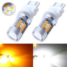 Car Turn LED Two Color Yellow White Strobe Flashing 1157/BAY15 3157 T25 7443 T20 Replacement Bulbs For Brake/Tail Lights
