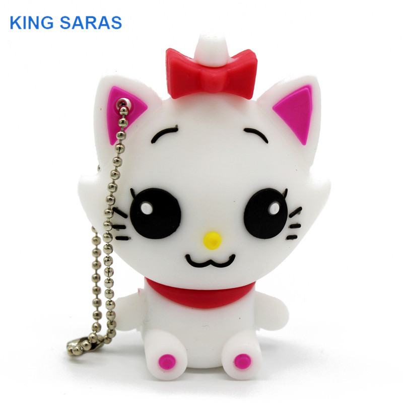 KING SARAS Cartoon Cute Cat Usb Flash Drive  4GB 8GB 16GB 32GB 64GB Pendrive U Disk Usb 2.0 Gift For Girl
