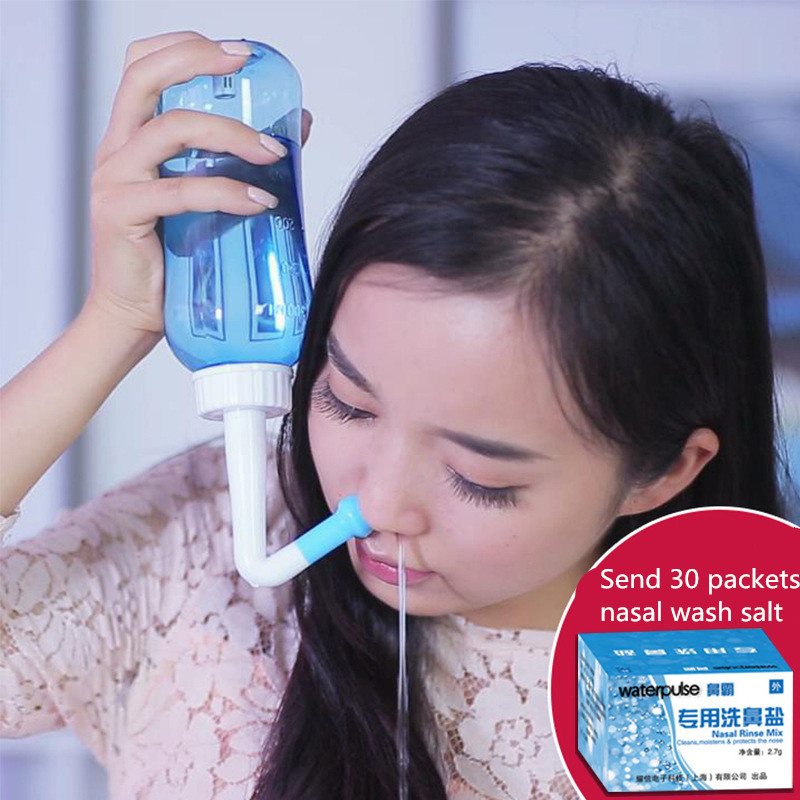 300ml Nasal Wash Neti Pot  Nose Cleaner Bottle Nasal Irrigator Nasal Wash Pot Saline Children Baby allergic  rhinitis Nose Care home treatment for allergic rhinitis phototherapy light laser natural remedies for allergic rhinitis