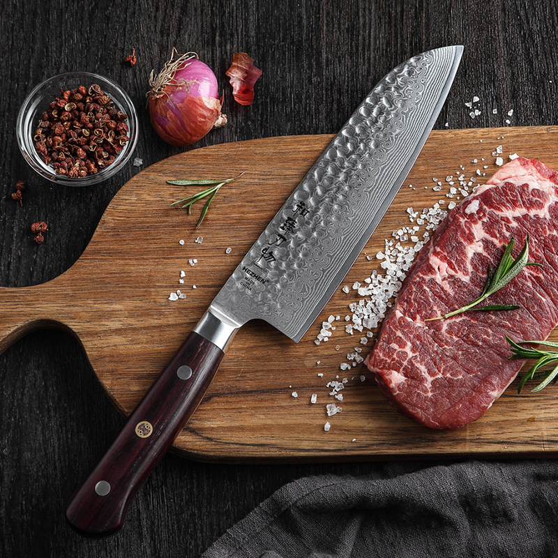 HEZHEN 7'' inch Santoku Knife Japanese VG10 Damascus Chef Knife 67 Layers VG10 Damascus Steel Cooking Knives Excellent Handle-in Kitchen Knives from Home & Garden    1