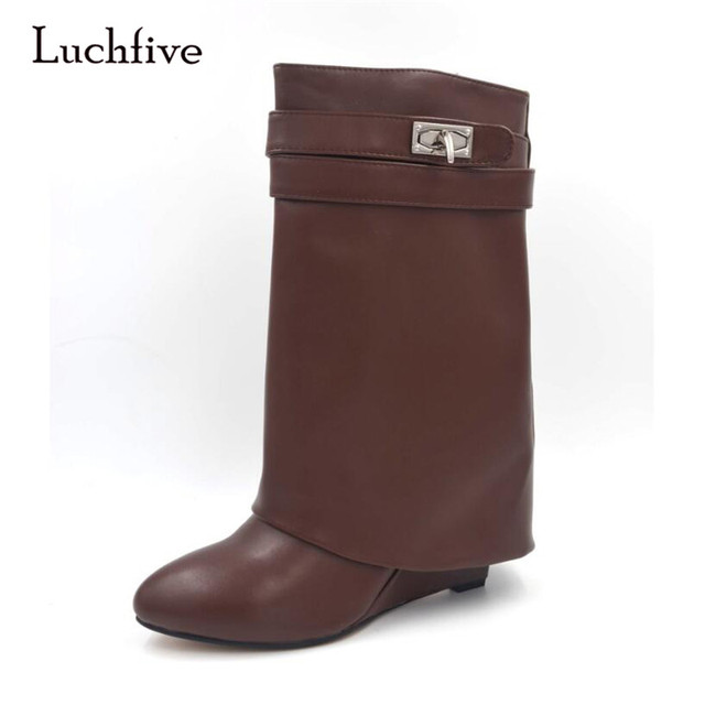 Luchfive Hot Shark Lock Ankle Boots Women Pointed Toe Turn Over Flanging Mid-Calf Boots Woman Fashion Short Booties