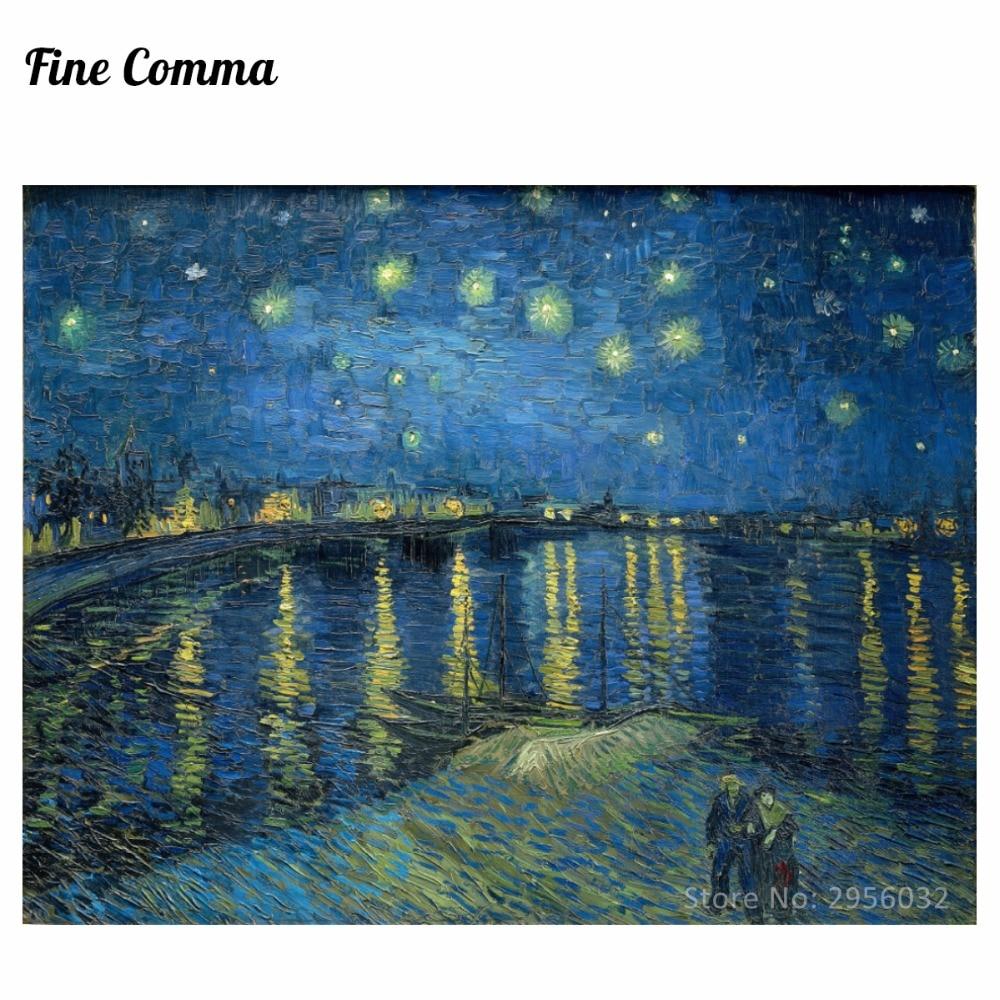 Csillagos éjszaka a Rhône felett, készítette: Vincent van Gogh, kézzel festett olajfestmény reprodukció másolata Wall Art vászon festmény Repro
