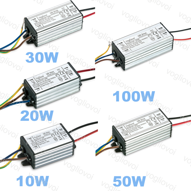 Vogliovoi LED Driver 10W 20W 30W 50W 100W Low Current For Floodlight HighBay AC110V AC220V Aluminum IP67 LED Transformer Adapter