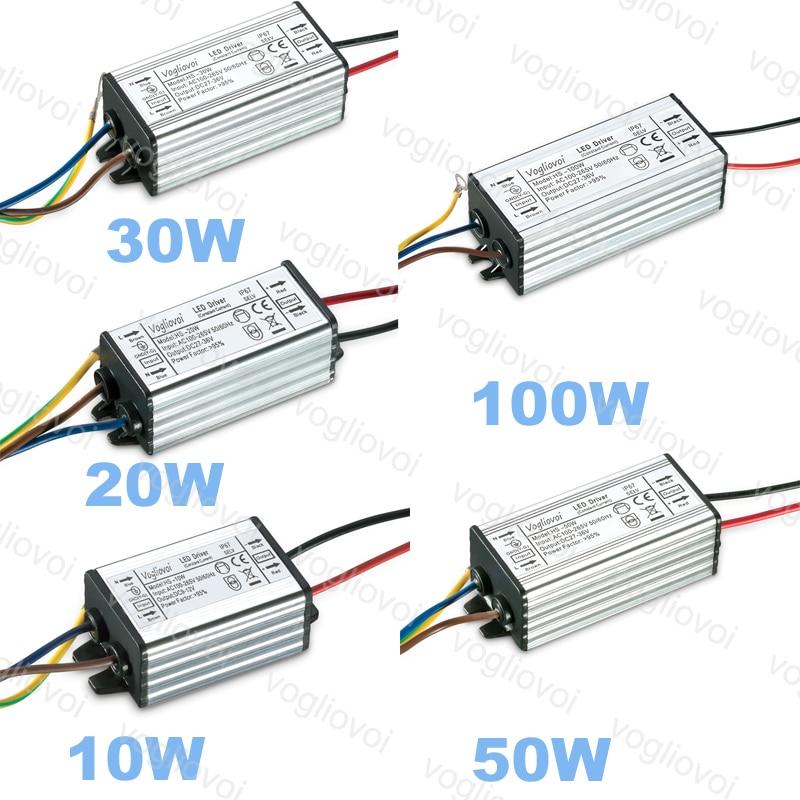 Vogliovoi led driver 10 w 20 30 50 100 baixa corrente para projector highbay ac110v ac220v alumínio ip67 led transformador adaptador