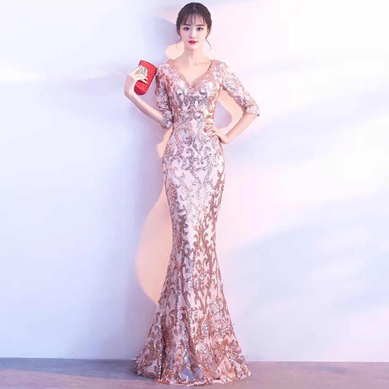 D056 luxury elegant half sleeves v back floor length long mermaid sequin  dress a39144f72054