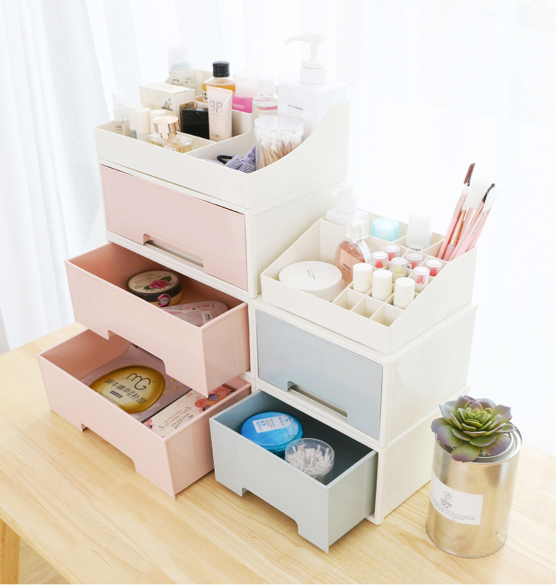 Plastic Cute Cosmetic Storage Box Drawer Multi Layer Dressing Table Desktop Rack Makeup Organizer Holder Container Sundry