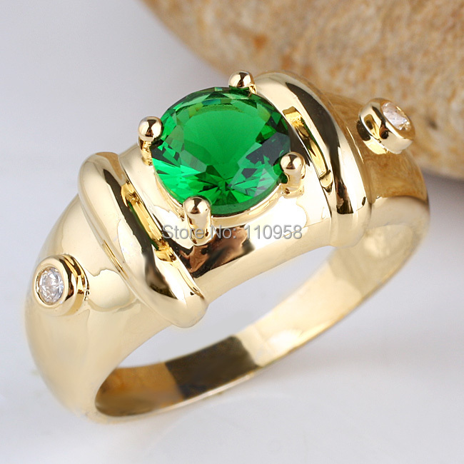 Gold Color Sterling 925 Silver Men Ring 7mm Round Stone Jewelry