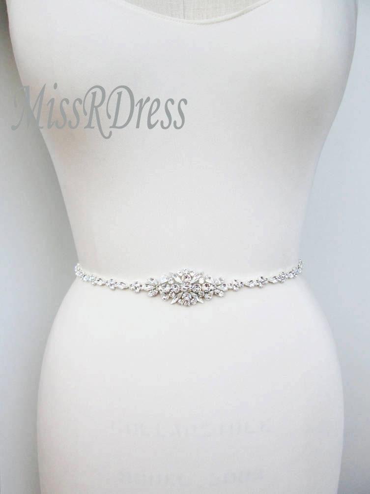 MissRDress Wedding Dress Belt Crystal Bridal Belt Sash Diamond Wedding Sash Thin Rhinestones Wedding Belt For Women Dress JK868
