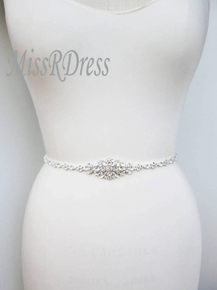 MissRDress Silver Crystal Bridal Belt Sash Diamond Wedding Sash Thin Rhinestones Wedding Belt For Women Dresses JK868