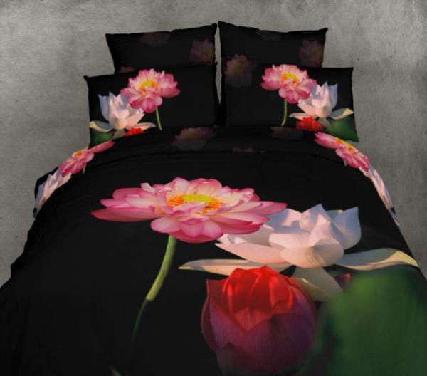 3d Black Lotus Flower Floral Bedding Set Queen Size
