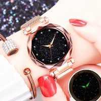 Top Starry Sky Rhinestone Watches Women Luxury Rose Gold Magnetic Wristwatches Ladies Minimalism zegarek damski relogio feminino