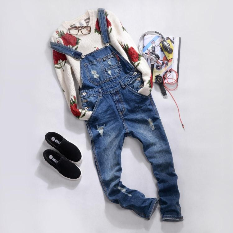 New men s pants ripped jeans Korean cultivating tooling Siamese suspenders washed blue