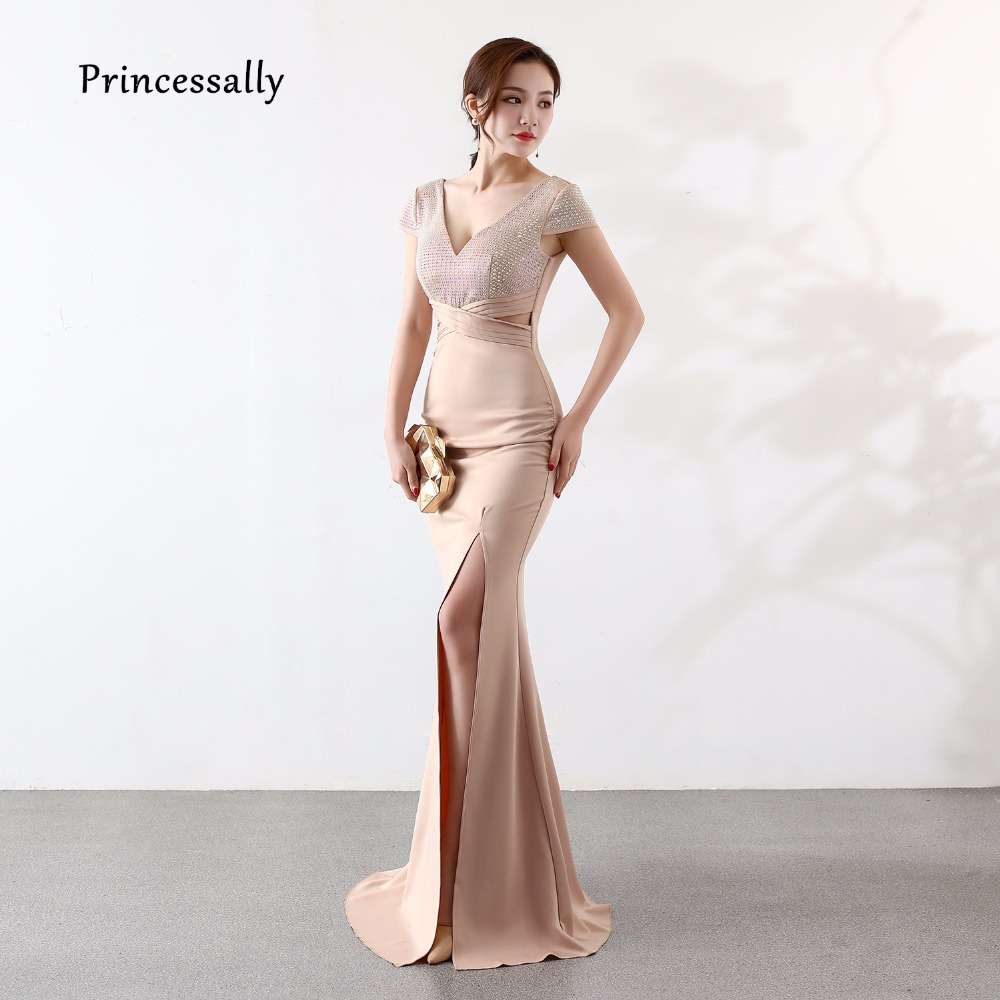 New Elegant Mermaid Evening Dress Long Short Sleeve Sexy V Neck Sequined High Split Side Cheap Jersey Prom Gown Robe De Soriee