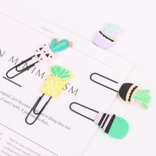 4pcs/set Creative Cartoon Paperclips Bookmarks Cactus Soft Silicone Colorful Paper Clip File Memo Photo