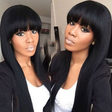 silk base Full lace wig silk straight with bangs Lace front wig with baby hair for black women Brazilian Hair Lace Cut jet black