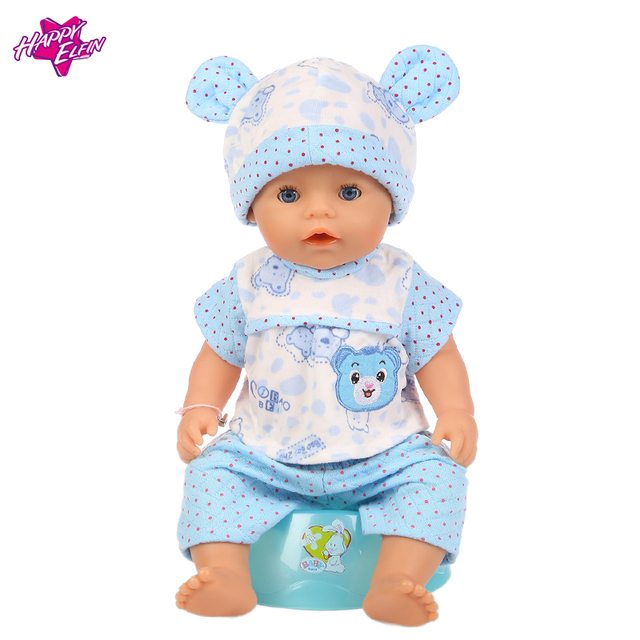 Baby Born Doll Clothes Fit Zapf Doll Jumpsuit Suit with cute hat Doll Pajamas sleeping clothes 18inch Children Birthday Gifts