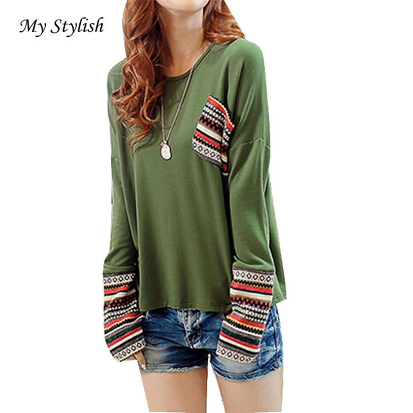 Reasonable My Stylish 2016 Hot Sale 1pcs Womens Long Sleeve Round Neck Checked Loose Shirt Blouse Tops Good-looking Oct 31 Superior Quality In